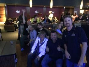 The Peterson family and Fay Sirkis having fun at Brunswick Lanes.