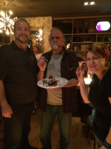 Bert Monroy enjoys his birthday dessert with myself and Krystal Homser,  Adobe User Group Manager.