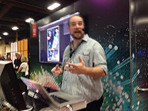 "Presenting ""Photoshop Quick Tips"" at the Adobe Booth. Photo: Theresa McLellan Jackson"